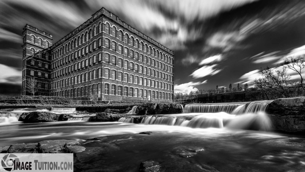 Stunning Paisley Mill. Monochrome tuition. Black and white image tuition, Scotland