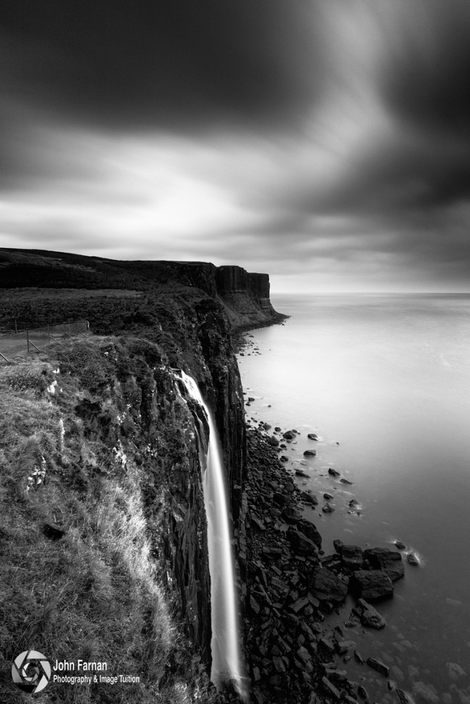 One example is Mealt Falls; just a quick walk from the car park. The extraordinary falls provides a guaranteed photographic opportunity whatever the weather. The cascade of water drops straight of the cliff edge at Kilt Rock into the sea.
